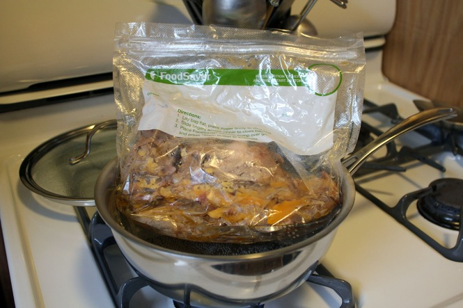 Heating up the pork.